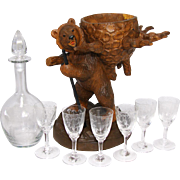 """SALE Fine Antique Black Forest Hiking Bear is a 15.5"""" Tall Liqueur Tantalus, Stand ..."""