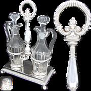 "Antique French Louis Philippe Era Sterling Silver 13.5"" Oil & Vinegar Cruet Stand, 1819-1"