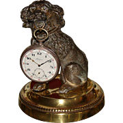 Antique French Poodle Dog Figural Pocket Watch Holder, Stand. Napoleon III Era