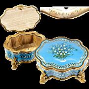 """SALE BIG Antique TAHAN Signature Bresse or Sevres Kiln-fired Enamel Box, Casket, 6"""" x ..."""