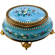"SALE Antique French Bresse or Sevres Kiln-fired Enamel Box, Casket, t4.5"" Oval, Delicate"