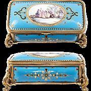 SALE BIG Antique French Kiln-fired Enamel Jewelry or Gloves Box, Casket, Bresse Jewel & Scene