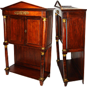"SALE Rare Antique French Napoleon I Era 33.5"" Table Cabinet, Empire Rosewood & Dore Bronz"