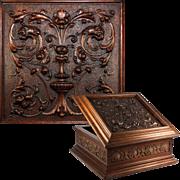 "SALE Superb Antique French Hand Carved Wooden 11.25"" Square Box, Casket, Florentine Renai"