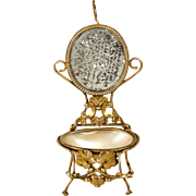SALE Antique Palais Royal Trinket Pocket Watch Stand, Mother of Pearl Egg, Miniature Chair