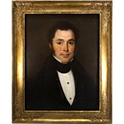 SALE Antique French Empire Frame and Fine Portrait, Oil Painting, A Gentleman with Diamond ...