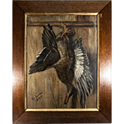 Artist Signed Antique French Oil Painting, Trompe L'oeil Duck Still Life in Oak Frame ...