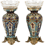 Petit Antique French Champleve Kiln-fired Enamel Vase Pair, (2), Glass Inserts Complete