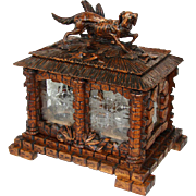 "SALE RARE Lg Antique Black Forest 17.5"" Cave a Liqueur, Carved Tantalus: Hunting DOG ..."