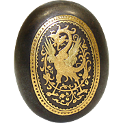 SALE Antique 14k Gold Damascene Inlay & Steel Snuff or Pill Box, Winged Griffin Inlay