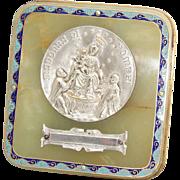 "SALE Antique French Napoleon III Champleve Enamel & Green Onyx Plaque, ""Madonna Di Pompei"
