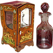 SALE Antique French Miniature Sedan Display Vitrine, Box: Vernis Martin, Perfume Bottle Casket