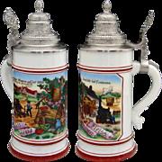 Fine Antique German Lithophane Beer Bier Stein, Hand Painted Pastoral Scene, Pewter Top