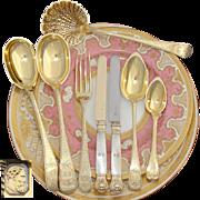 SALE RARE Antique French Vermeil 18k Gold on Sterling Silver 95pc Dessert Flatware Set, Servic
