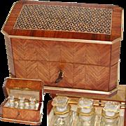 SALE Superb Antique French Scent Casket, Caddy, 3 Baccarat Perfume, Cologne Bottle, Napoleon I