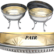 "Elegant Antique French Silver Plate 7"" Serving Bowl PAIR, 8 3/4"" Cut Glass Inserts ."