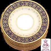 """SALE Vintage Minton Tiffany & Co. 6 1/8"""" Dessert or Appetizer Plate Set, Cobalt & Gold .."""