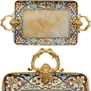 "SALE Antique French Champleve Enamel 9.5""+  Vanity or Card Tray, Alabaster, Napoleon III"
