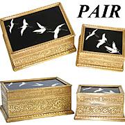 SALE Antique French Bronze & Porcelain Desk Box or Humidor PAIR