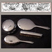 SALE Antique English or American 4pc Sterling Silver Vanity Brush Set