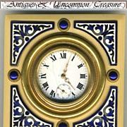 SOLD Antique Enamel Face Jeweled Travel Clock, KIENZLE, Germany