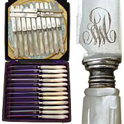 SALE Gorgeous Antique French .800/1000 Silver & Pearl 12pc Table Knife Set, Box: Engraved