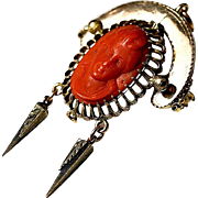 SALE Sueprb Antique Red Coral Cameo, NeoGothic Brooch - Victorian era, deep bas relief