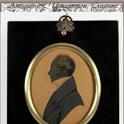 SOLD Antique Georgian Painted Portrait Silhouette, Acorn Frame - circa 1780-1810 Gent, superb