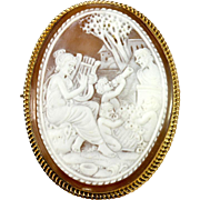 SALE Large Hand Carved Antique Cameo, Psyche and Cupid, 9k Gold Mount - English Marks