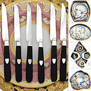 SALE Antique French Sterling Silver & Ebony 6pc Knife Set, 1819-1838