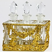SOLD Vintage French Empire Styled 3 Flask Perfume Caddy, Dauber Set, c.1930s, Classical Figure