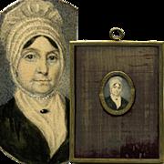 SALE Antique Hand Painted French Portrait Miniature, Woman in Lace Bonnet, Frame