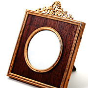 SALE Antique French Dore Bronze Photo Frame with Wood Mat, Easel Stand Back - Ormolu