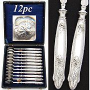 SALE Lovely Antique French Sterling Silver 12pc Shellfish or Oyster Fork Set, Art Nouveau
