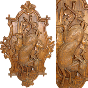 """SALE LG Antique Victorian Black Forest Carved Wood 28"""" Wall Plaque, """"Fruits of the H"""