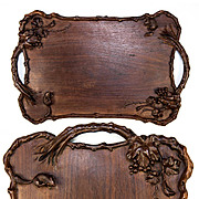 SALE Antique Hand Carved Napoleon III Era Japonaise Tray, 2 Squirrels & Leaves