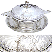 SALE Ornate Antique French Sterling Silver Ecuelle or Caviar Serving Set, 3pc w/ Saucer & Lid