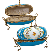 SALE Remarkably Fine Large Kiln-fired Enamel Sevres  Large Jewelry Casket, Egg-Shaped in Wire