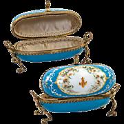 SALE Remarkably Fine Large Kiln-fired Enamel Sevres  Large Jewelry Casket, Egg-Shaped in Wire