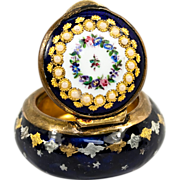SOLD Antique French Kiln-Fired Enamel Patch Box, Sevres for Tahan, Unsigned