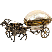 "SOLD Antique French 6.5"" Goat Carriage in Mother of Pearl, a Palias Royal Trinket Egg Car"