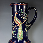 """SALE BIG Antique to Vintage 11"""" Tall Bohemian Enamel Glass Decanter, Pitcher for Wine, Wa"""