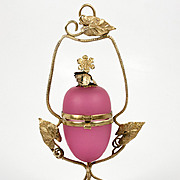 SALE Rare Ring Box Sized Antique French Opaline Egg & Ormolu Casket, Box, Etui - Pink