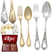 SALE Exquisite Antique French PUIFORCAT Sterling Silver & Vermeil 48pc Flatware Set, Highl