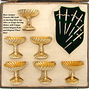 SALE Gorgeous Antique French 18K Gold on Sterling Silver 12pc Crudite or Olive Serving Set, Ro