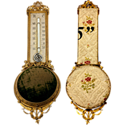 SALE Antique French Wall Mount Thermometer & Watch or Jewelry Pin Cushion Mount, c.1850s with