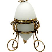 "SALE Antique French Palais Royal White Opaline ""Egg"" Casket, Palais Royal"