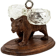SALE Antique Hand Carved Black Forest Bear with Double Open Salt, Plinth