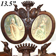 SALE Antique Hand Carved French Armorial Frame, Crown, Dog, Crow and Crests, 2 Artist Signed P