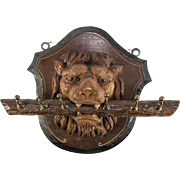 SOLD Antique Large Hand Carved Black Forest Lion Wall Plaque, Key or Cup Rack